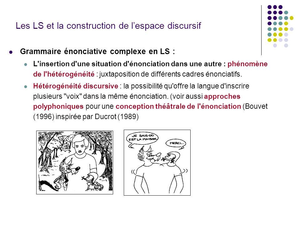 Les LS et la construction de lespace discursif Grammaire énonciative complexe en LS : L'insertion d'une situation d'énonciation dans une autre : phéno