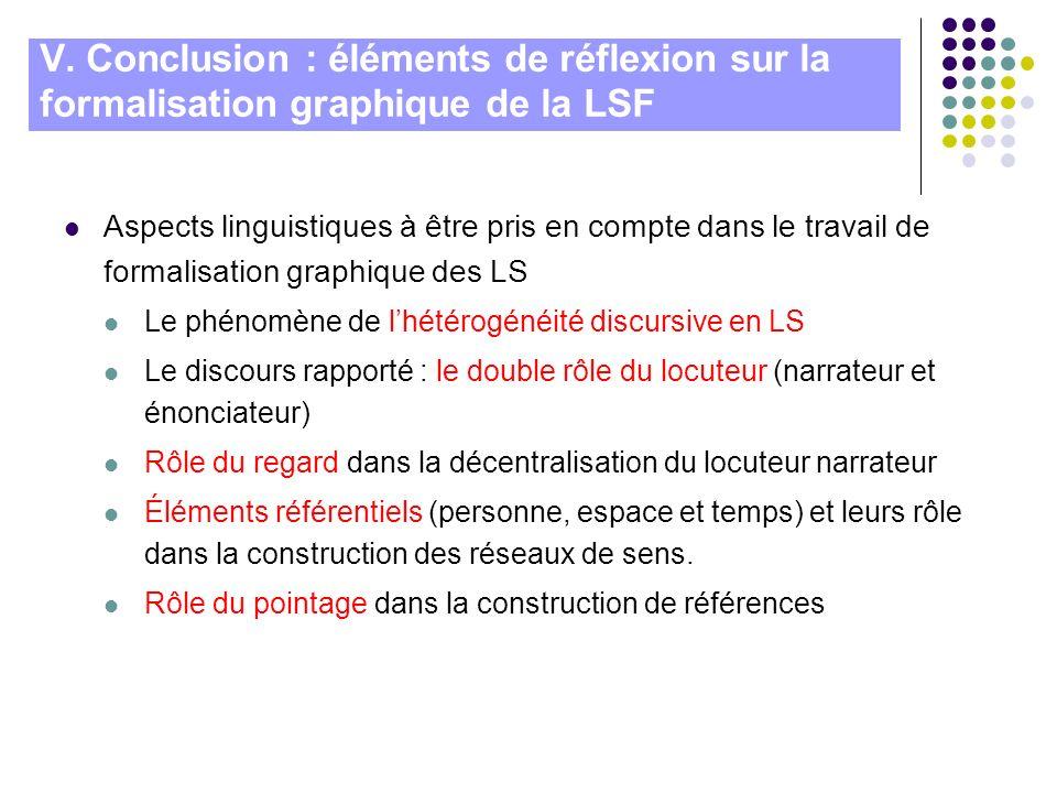V. Conclusion : éléments de réflexion sur la formalisation graphique de la LSF Aspects linguistiques à être pris en compte dans le travail de formalis