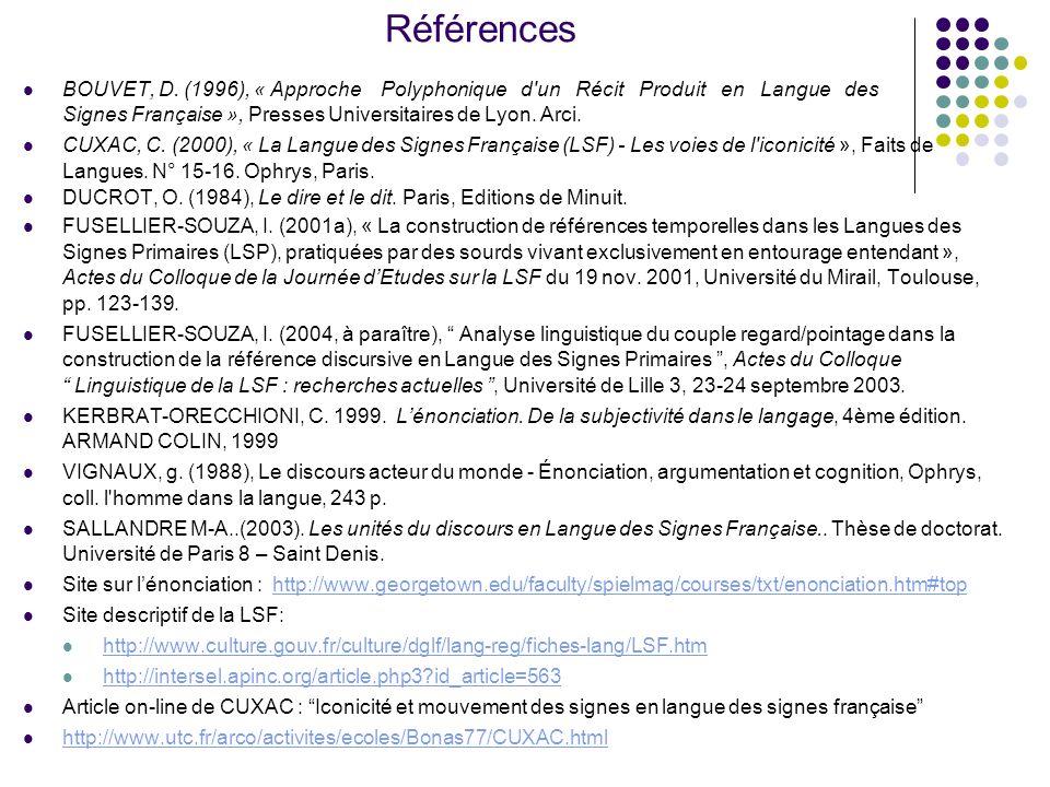 Références BOUVET, D. (1996), « Approche Polyphonique d'un Récit Produit en Langue des Signes Française », Presses Universitaires de Lyon. Arci. CUXAC