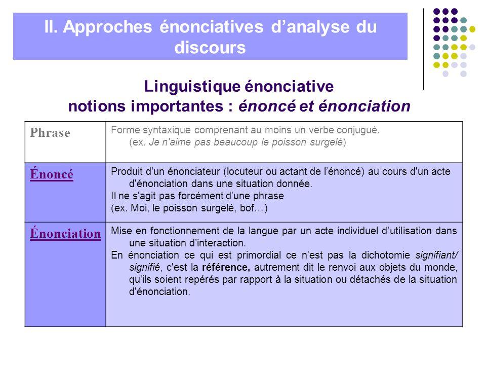 Linguistique énonciative notions importantes : énoncé et énonciation Phrase Forme syntaxique comprenant au moins un verbe conjugué. (ex. Je n'aime pas