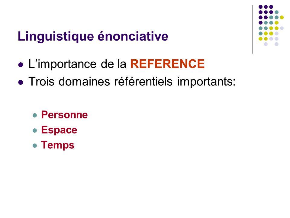 Linguistique énonciative Limportance de la REFERENCE Trois domaines référentiels importants: Personne Espace Temps