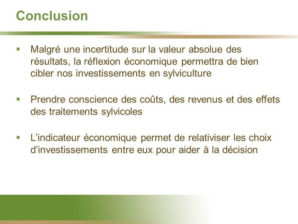 Conclusion Malgré une incertitude sur la valeur absolue des résultats, la réflexion économique permettra de bien cibler nos investissements en sylvicu
