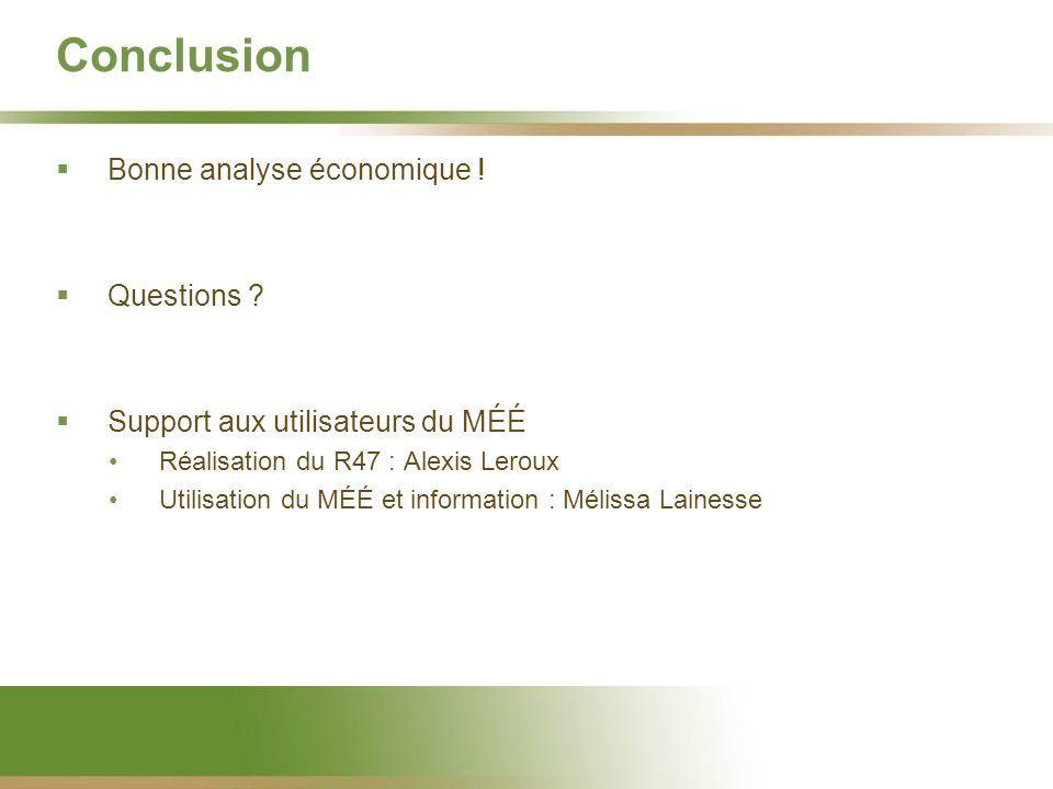 Conclusion Bonne analyse économique ! Questions ? Support aux utilisateurs du MÉÉ Réalisation du R47 : Alexis Leroux Utilisation du MÉÉ et information