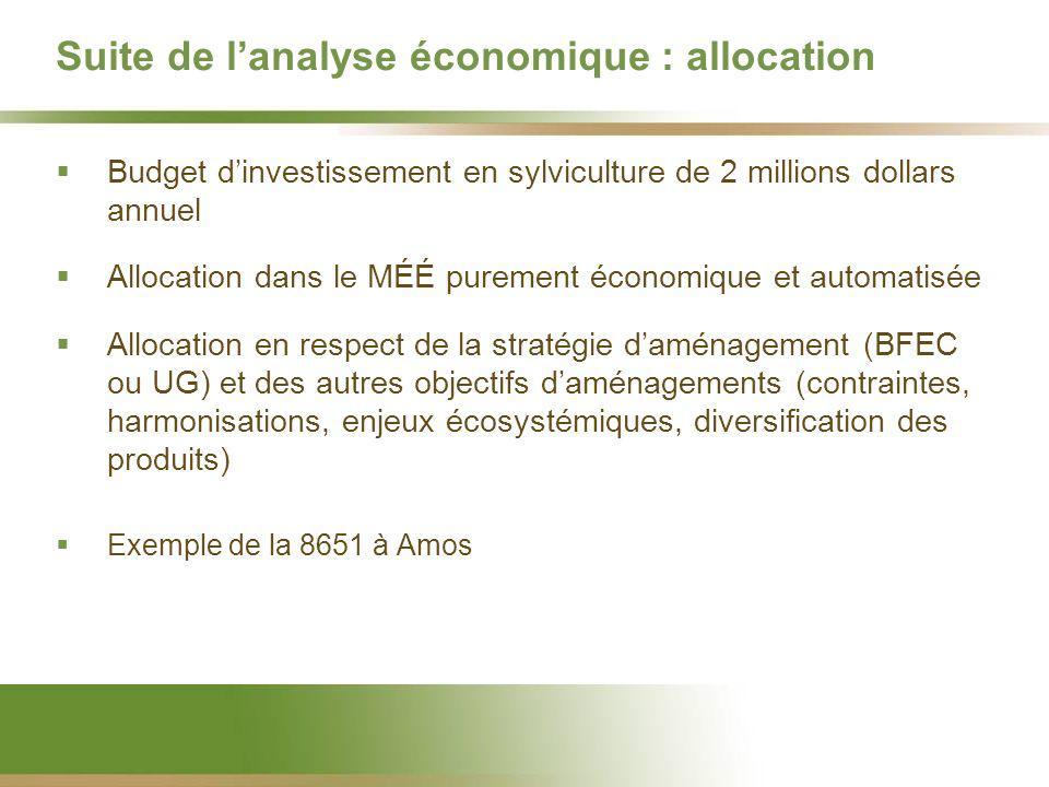 Suite de lanalyse économique : allocation Budget dinvestissement en sylviculture de 2 millions dollars annuel Allocation dans le MÉÉ purement économiq