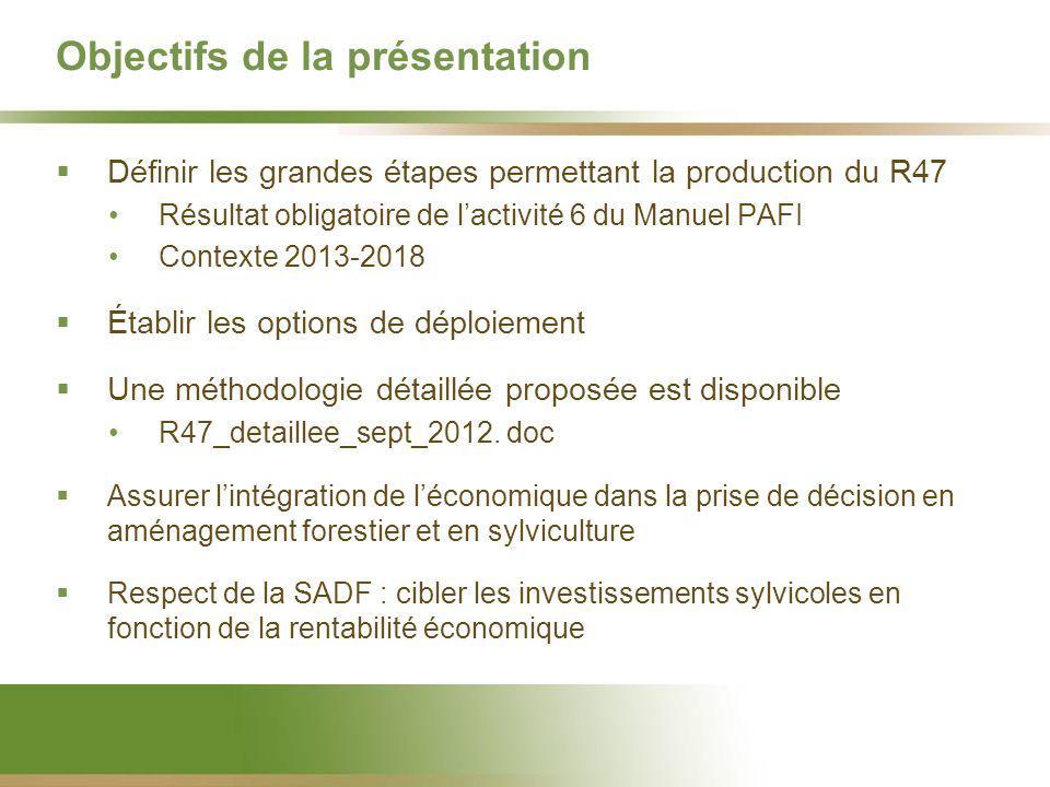 Objectifs de la présentation Définir les grandes étapes permettant la production du R47 Résultat obligatoire de lactivité 6 du Manuel PAFI Contexte 2013-2018 Établir les options de déploiement Une méthodologie détaillée proposée est disponible R47_detaillee_sept_2012.