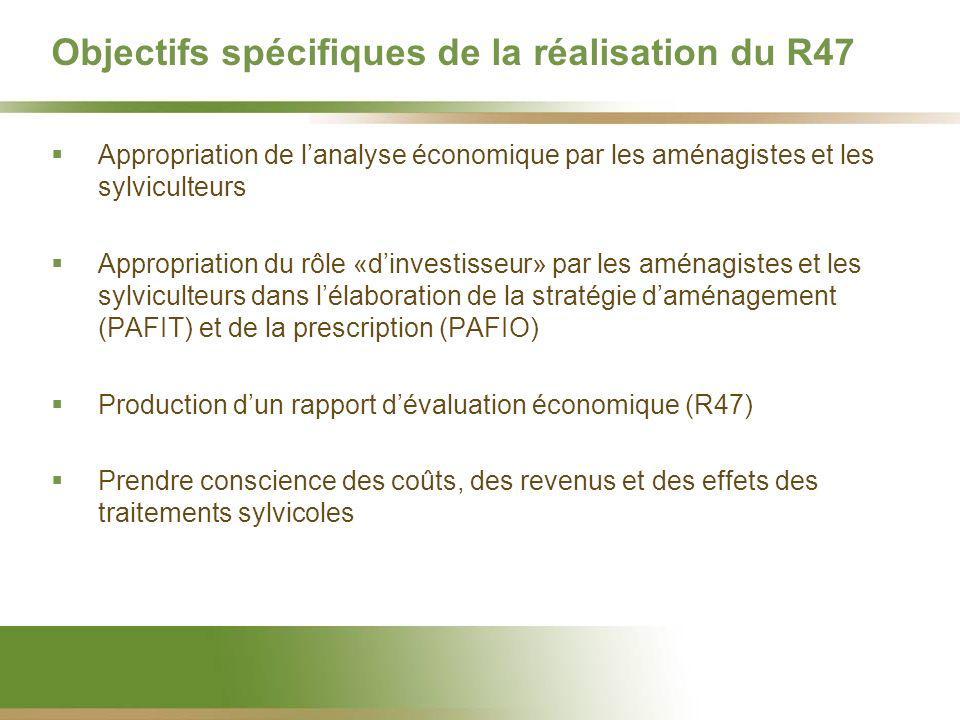 Objectifs spécifiques de la réalisation du R47 Appropriation de lanalyse économique par les aménagistes et les sylviculteurs Appropriation du rôle «dinvestisseur» par les aménagistes et les sylviculteurs dans lélaboration de la stratégie daménagement (PAFIT) et de la prescription (PAFIO) Production dun rapport dévaluation économique (R47) Prendre conscience des coûts, des revenus et des effets des traitements sylvicoles