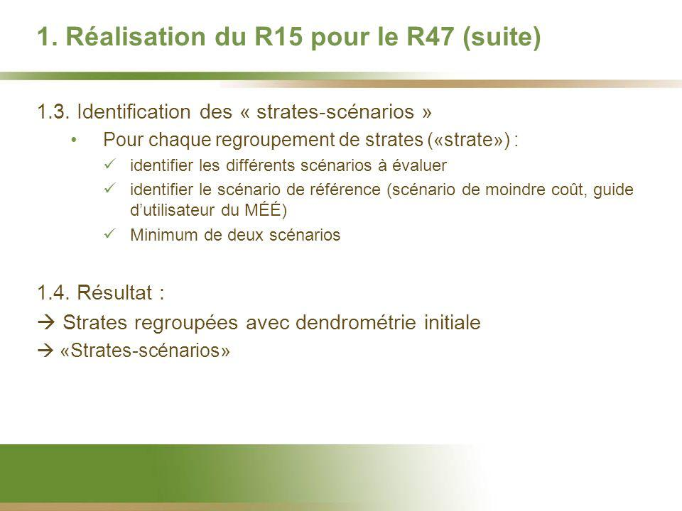 1. Réalisation du R15 pour le R47 (suite) 1.3. Identification des « strates-scénarios » Pour chaque regroupement de strates («strate») : identifier le