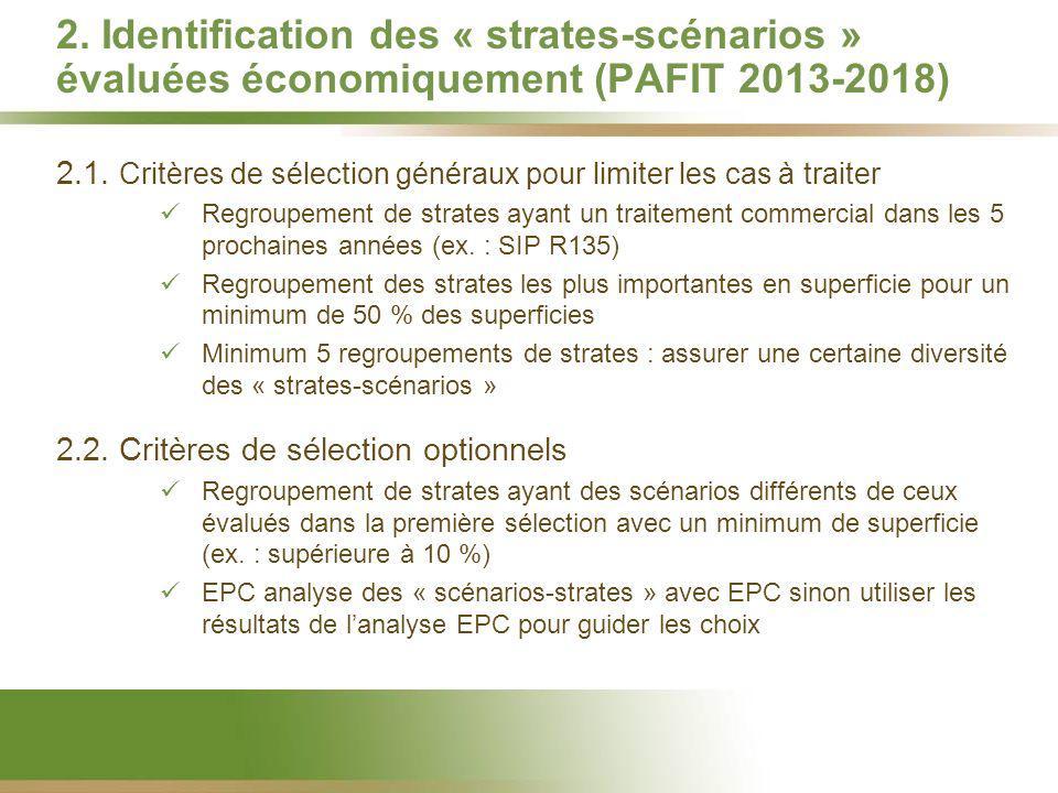 2. Identification des « strates-scénarios » évaluées économiquement (PAFIT 2013-2018) 2.1. Critères de sélection généraux pour limiter les cas à trait