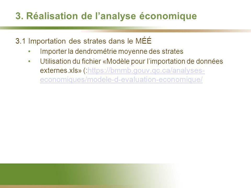 3. Réalisation de lanalyse économique 3.1 Importation des strates dans le MÉÉ Importer la dendrométrie moyenne des strates Utilisation du fichier «Mod