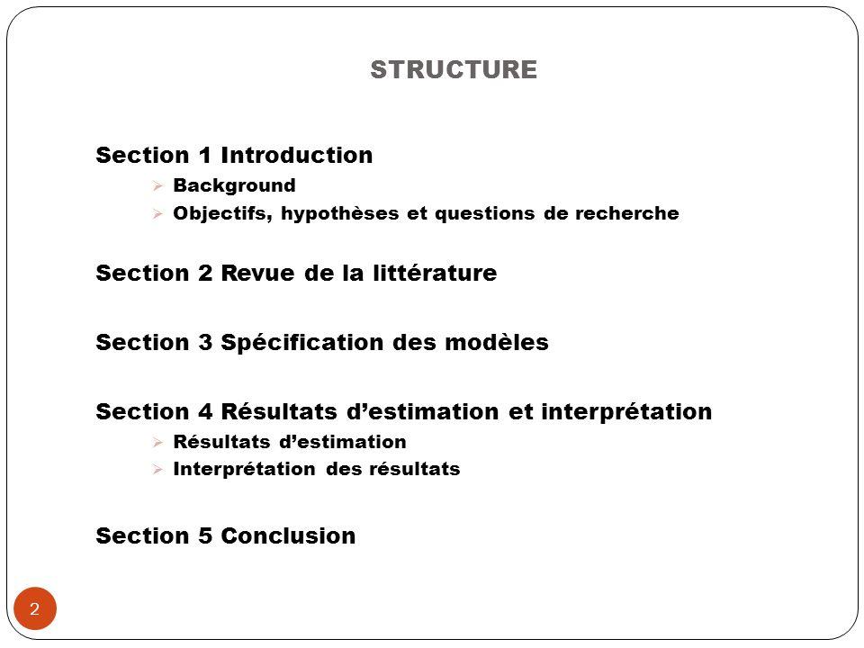 STRUCTURE Section 1 Introduction Background Objectifs, hypothèses et questions de recherche Section 2 Revue de la littérature Section 3 Spécification