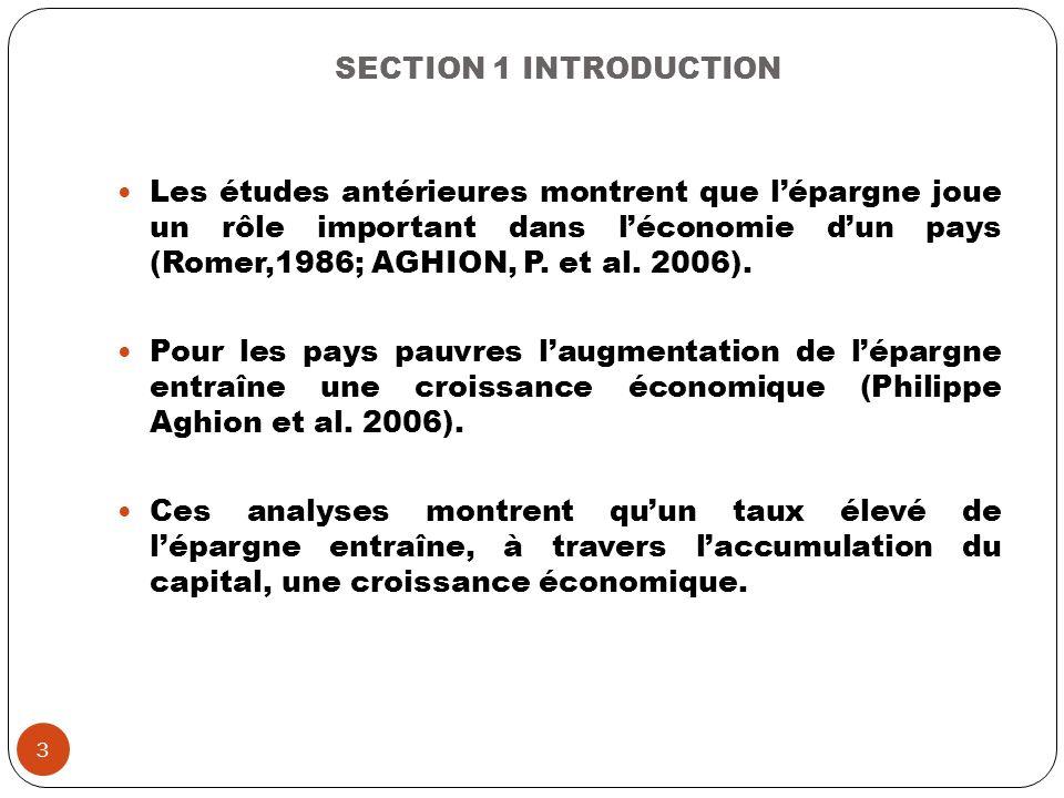 SECTION 1 INTRODUCTION Les études antérieures montrent que lépargne joue un rôle important dans léconomie dun pays (Romer,1986; AGHION, P. et al. 2006