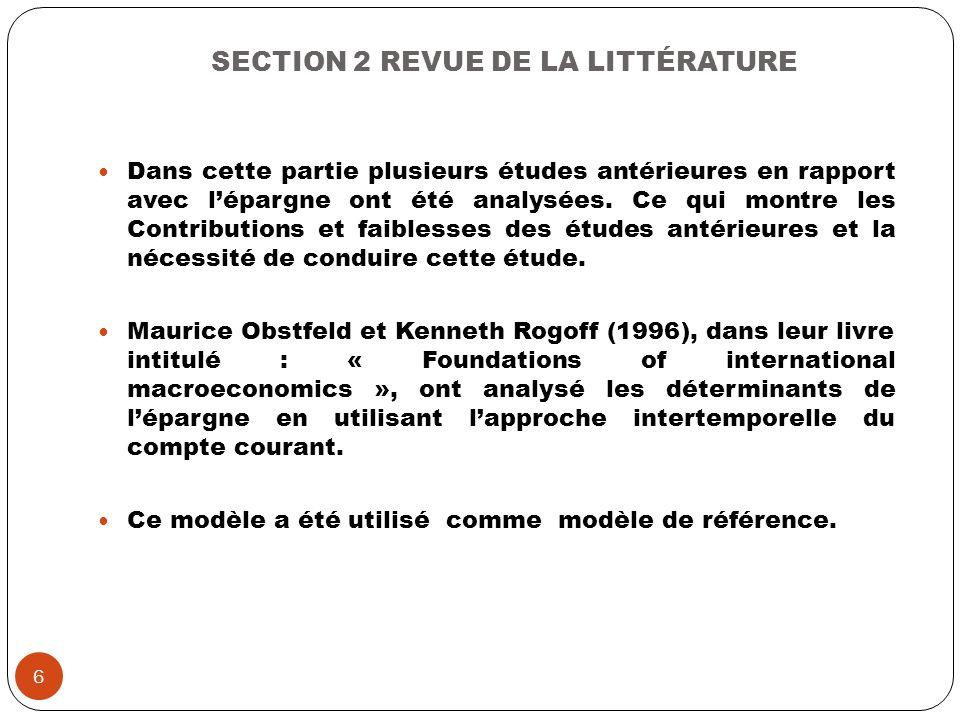 SECTION 2 REVUE DE LA LITTÉRATURE Dans cette partie plusieurs études antérieures en rapport avec lépargne ont été analysées. Ce qui montre les Contrib