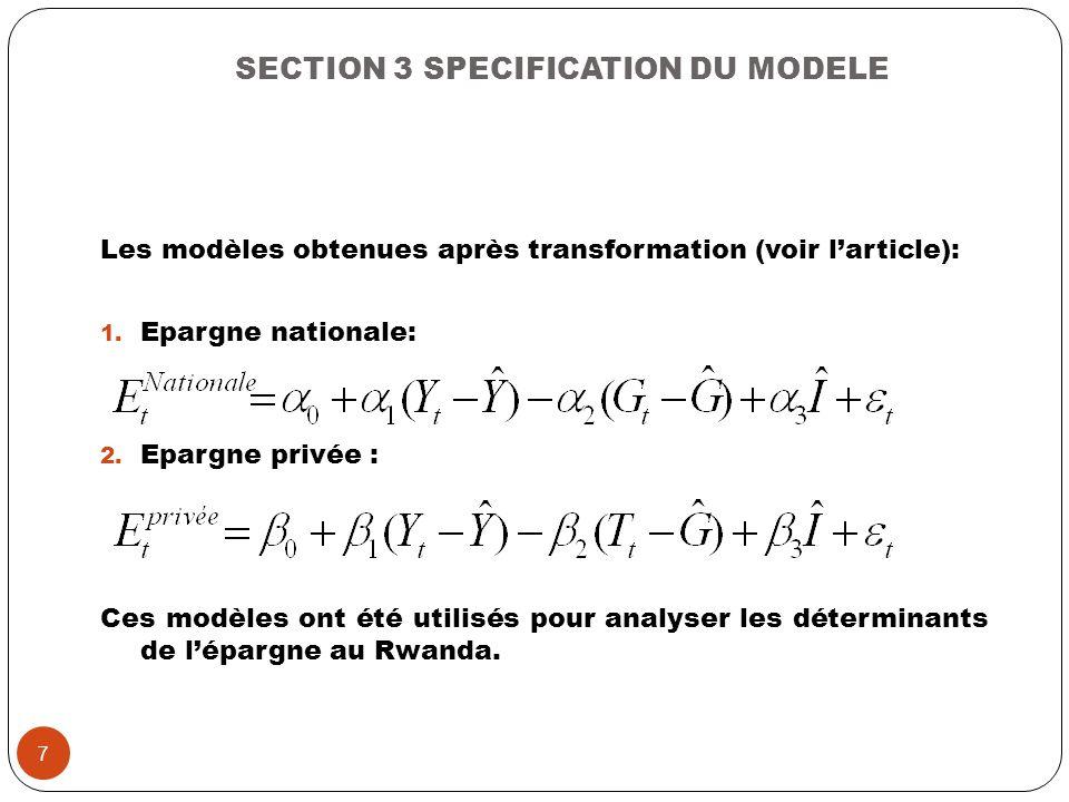 SECTION 3 SPECIFICATION DU MODELE Les modèles obtenues après transformation (voir larticle): 1. Epargne nationale: 2. Epargne privée : Ces modèles ont
