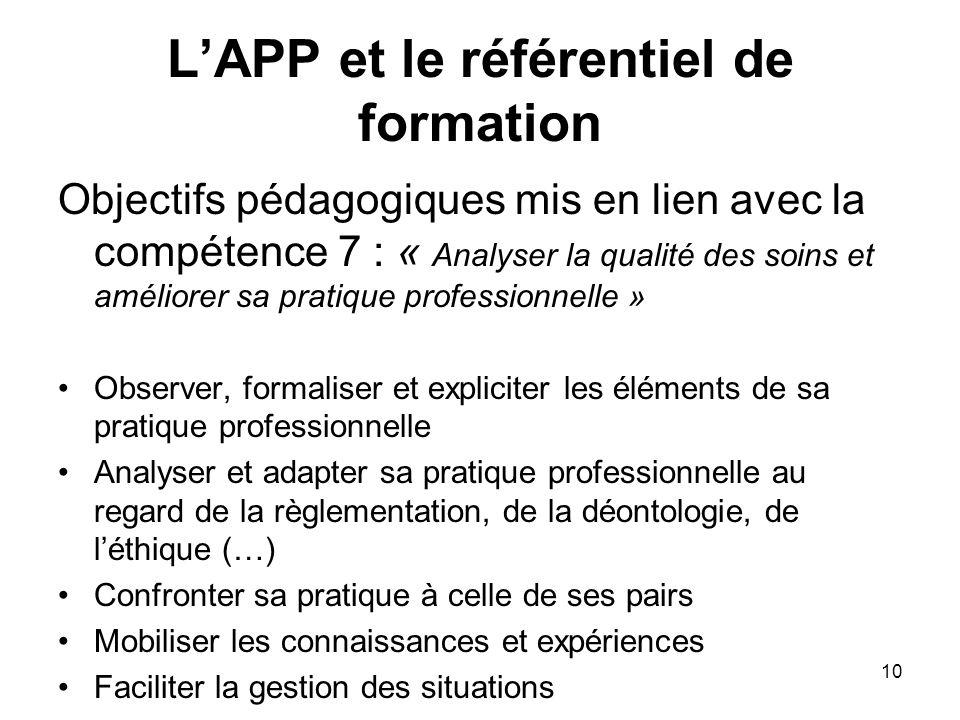 10 LAPP et le référentiel de formation Objectifs pédagogiques mis en lien avec la compétence 7 : « Analyser la qualité des soins et améliorer sa prati