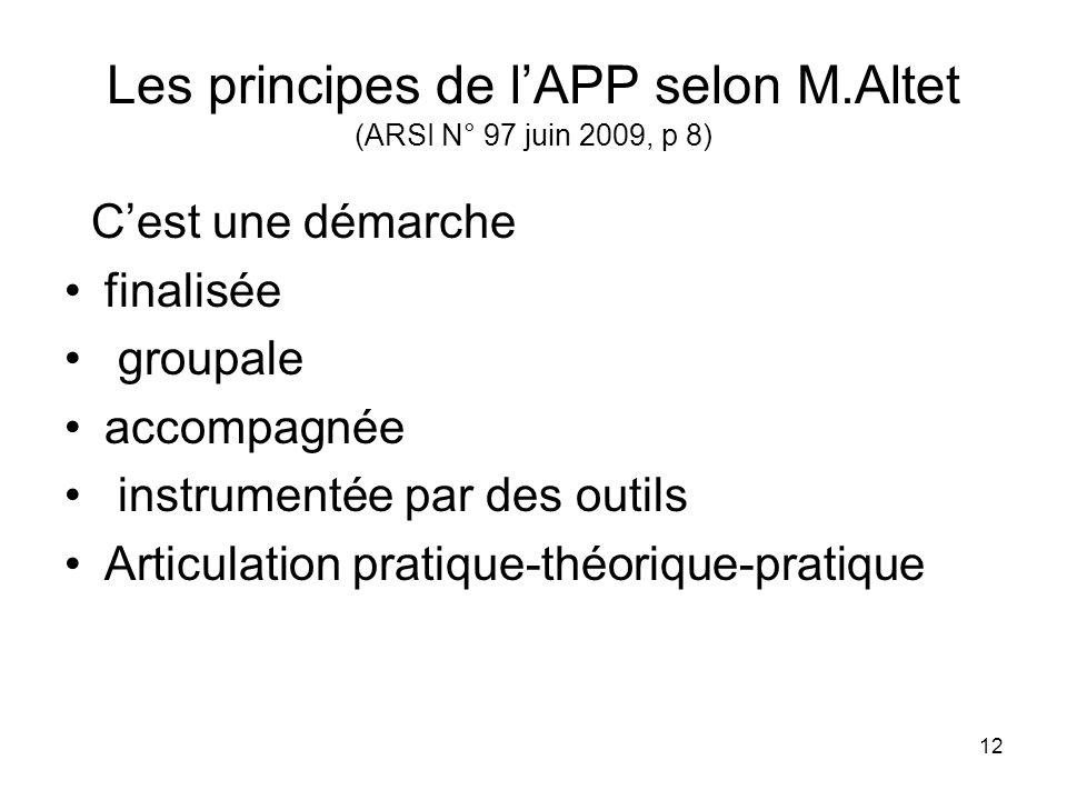12 Les principes de lAPP selon M.Altet (ARSI N° 97 juin 2009, p 8) Cest une démarche finalisée groupale accompagnée instrumentée par des outils Articu