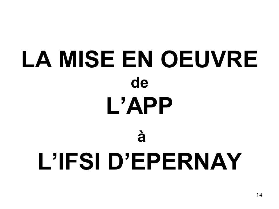 14 LA MISE EN OEUVRE de LAPP à LIFSI DEPERNAY