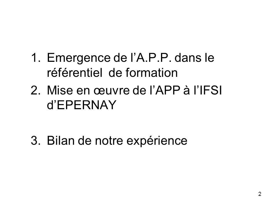 2 1.Emergence de lA.P.P. dans le référentiel de formation 2.Mise en œuvre de lAPP à lIFSI dEPERNAY 3.Bilan de notre expérience