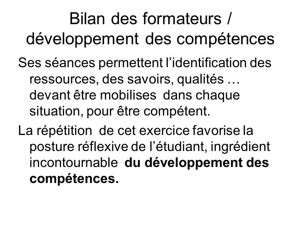 Bilan des formateurs / développement des compétences Ses séances permettent lidentification des ressources, des savoirs, qualités … devant être mobili