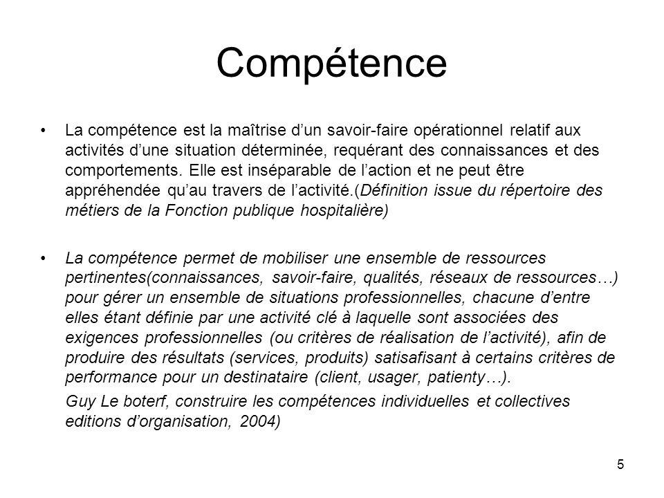 5 Compétence La compétence est la maîtrise dun savoir-faire opérationnel relatif aux activités dune situation déterminée, requérant des connaissances