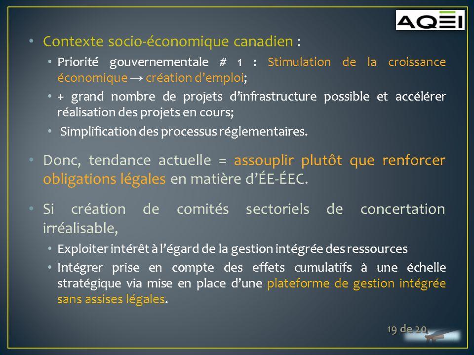 Contexte socio-économique canadien : Priorité gouvernementale # 1 : Stimulation de la croissance économique création demploi; + grand nombre de projets dinfrastructure possible et accélérer réalisation des projets en cours; Simplification des processus réglementaires.