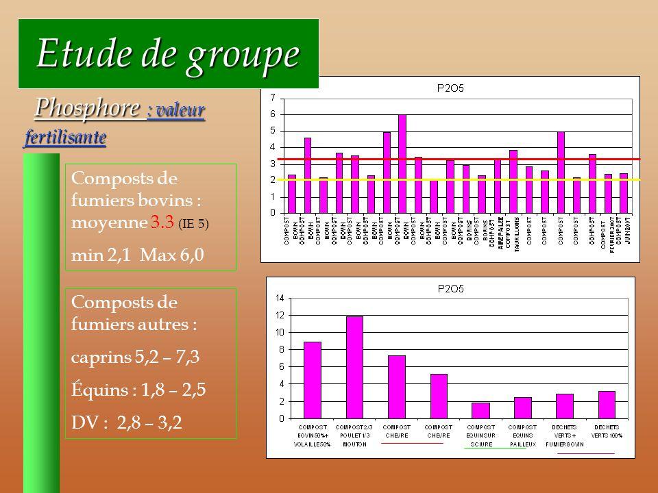 Etude de groupe Etude de groupe Phosphore : valeur fertilisante Phosphore : valeur fertilisante Composts de fumiers bovins : moyenne 3.3 (IE 5) min 2,1 Max 6,0 Composts de fumiers autres : caprins 5,2 – 7,3 Équins : 1,8 – 2,5 DV : 2,8 – 3,2