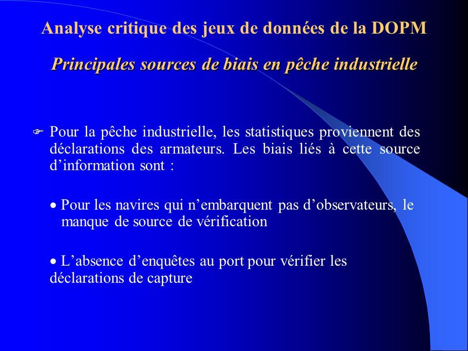 Principales sources de biais en pêche industrielle Analyse critique des jeux de données de la DOPM Principales sources de biais en pêche industrielle Pour la pêche industrielle, les statistiques proviennent des déclarations des armateurs.