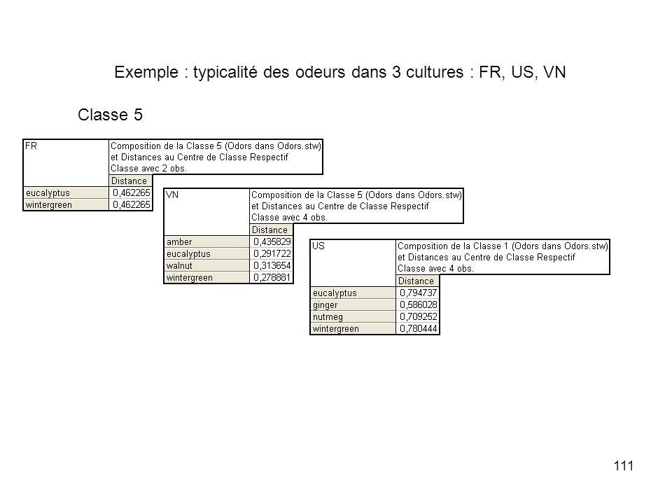 111 Exemple : typicalité des odeurs dans 3 cultures : FR, US, VN Classe 5