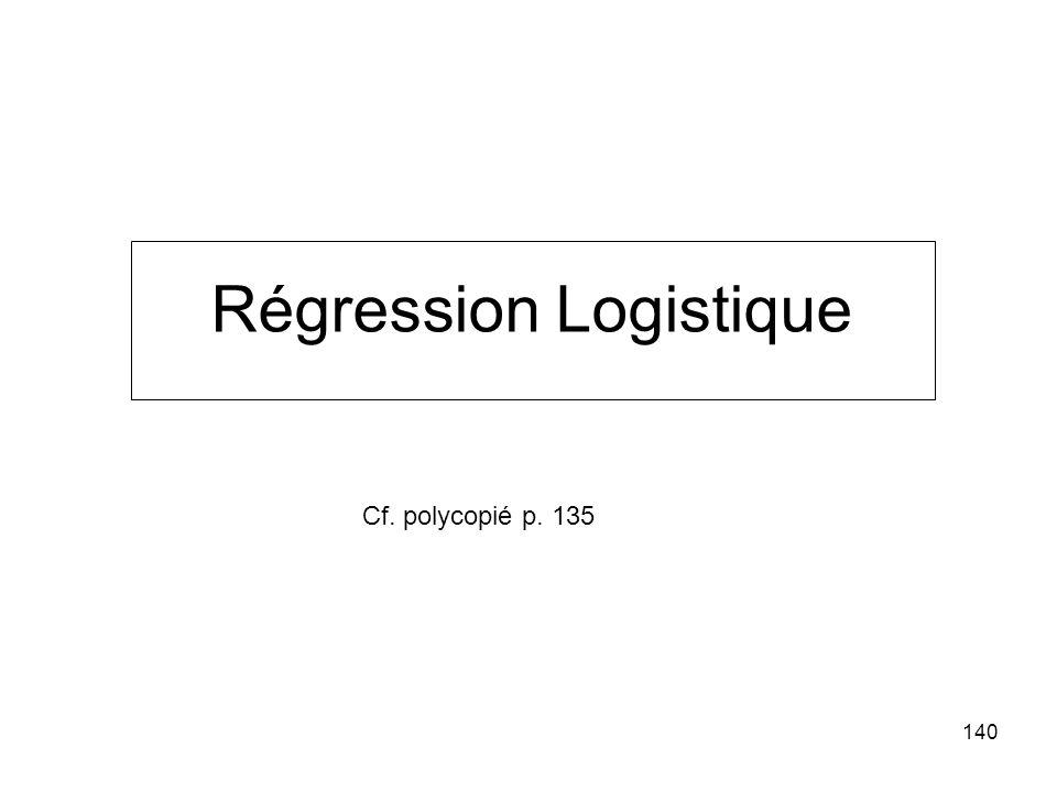 140 Régression Logistique Cf. polycopié p. 135