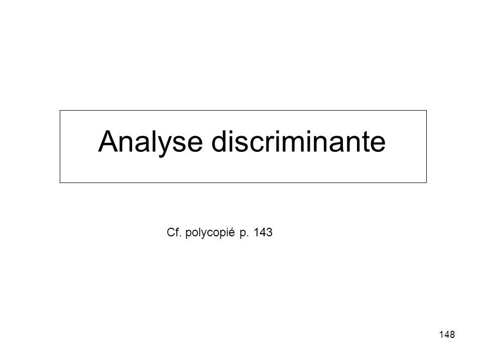 148 Analyse discriminante Cf. polycopié p. 143