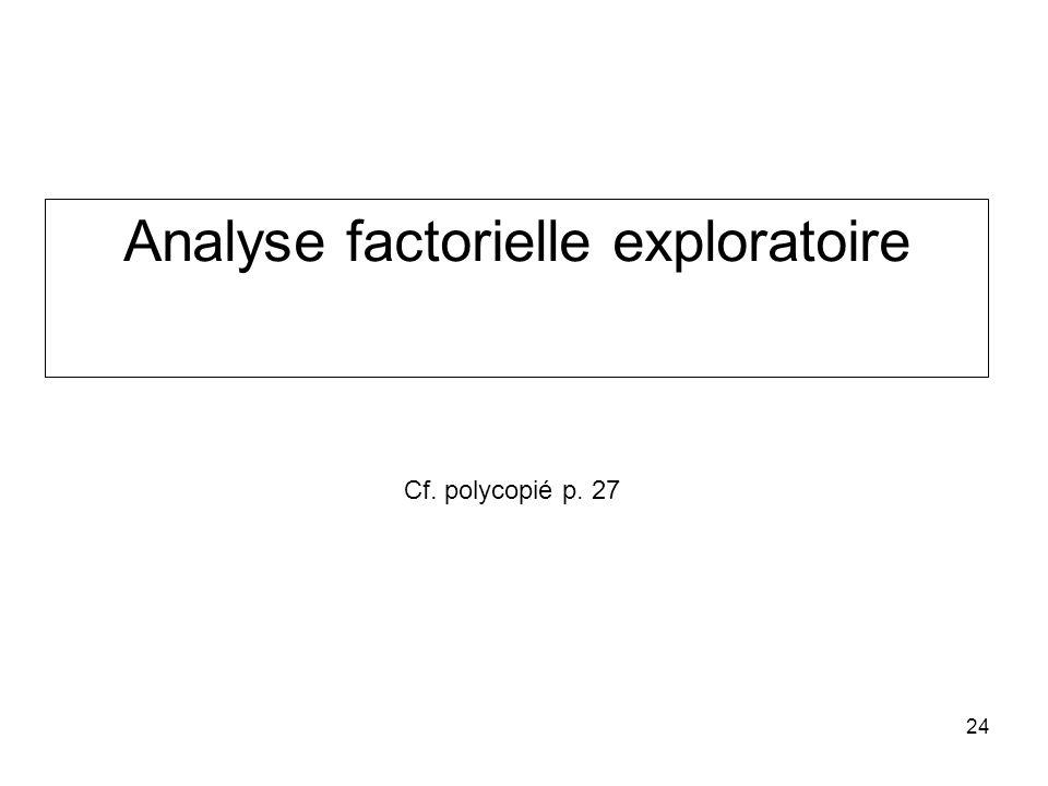24 Analyse factorielle exploratoire Cf. polycopié p. 27
