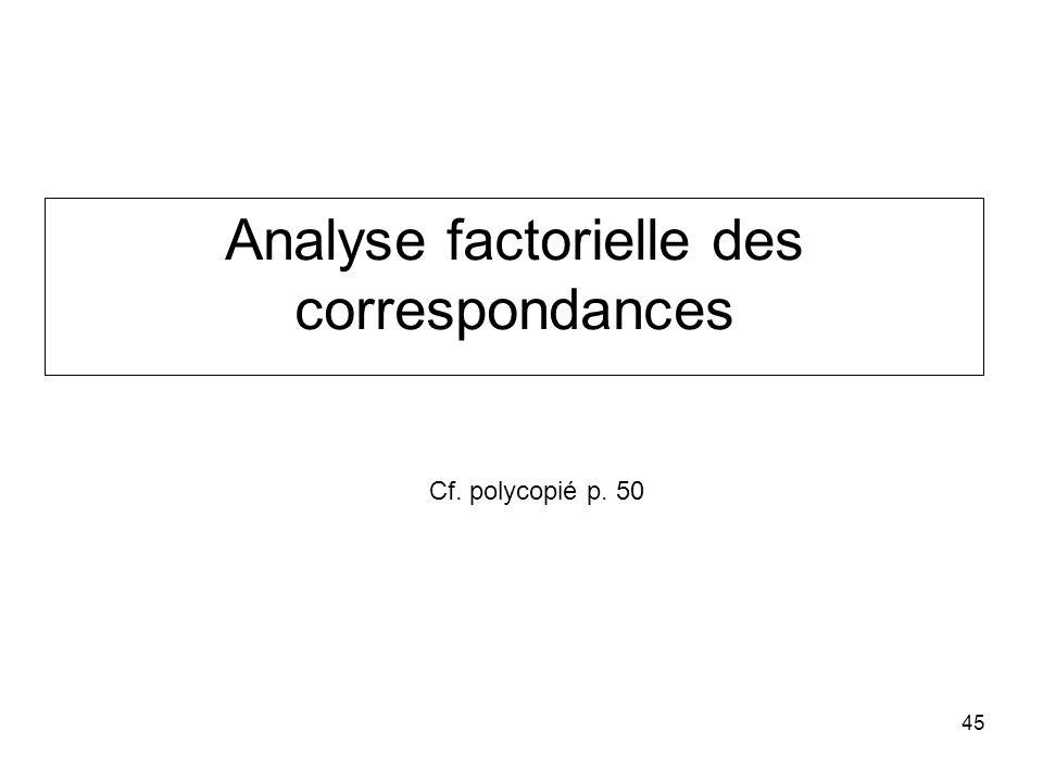 45 Analyse factorielle des correspondances Cf. polycopié p. 50