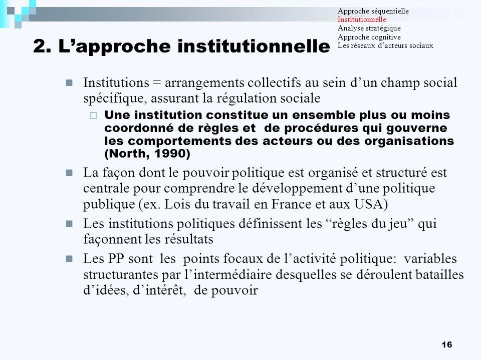 16 2. Lapproche institutionnelle Institutions = arrangements collectifs au sein dun champ social spécifique, assurant la régulation sociale Une instit