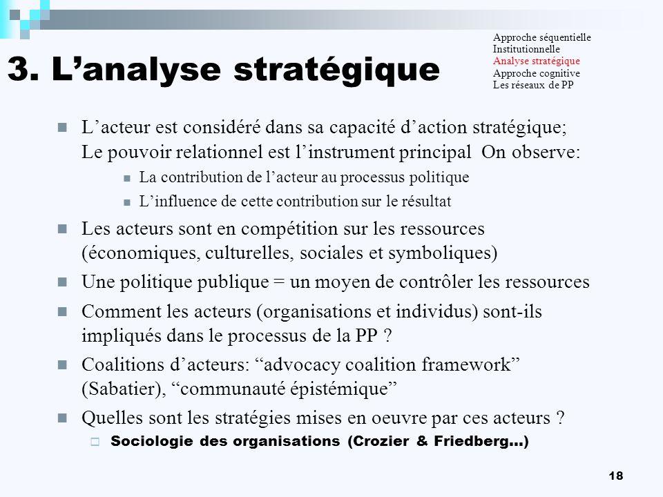 18 3. Lanalyse stratégique Lacteur est considéré dans sa capacité daction stratégique; Le pouvoir relationnel est linstrument principal On observe: La