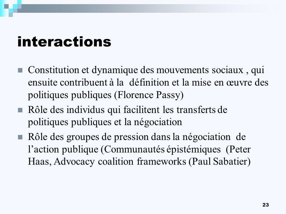 23 interactions Constitution et dynamique des mouvements sociaux, qui ensuite contribuent à la définition et la mise en œuvre des politiques publiques
