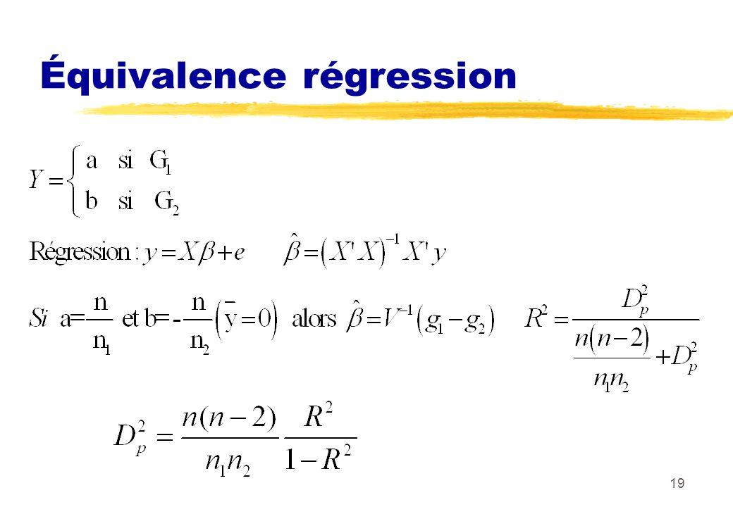 19 Équivalence régression