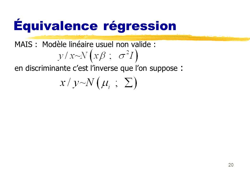 20 Équivalence régression MAIS : Modèle linéaire usuel non valide : en discriminante cest linverse que lon suppose :