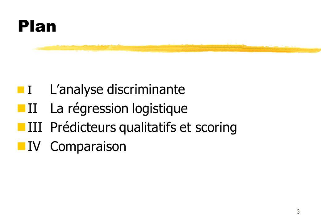 3 Plan nI Lanalyse discriminante II La régression logistique III Prédicteurs qualitatifs et scoring IV Comparaison
