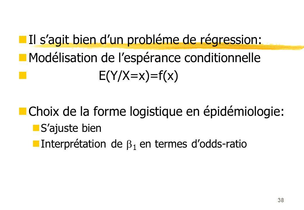 38 Il sagit bien dun probléme de régression: Modélisation de lespérance conditionnelle E(Y/X=x)=f(x) Choix de la forme logistique en épidémiologie: Sajuste bien Interprétation de 1 en termes dodds-ratio