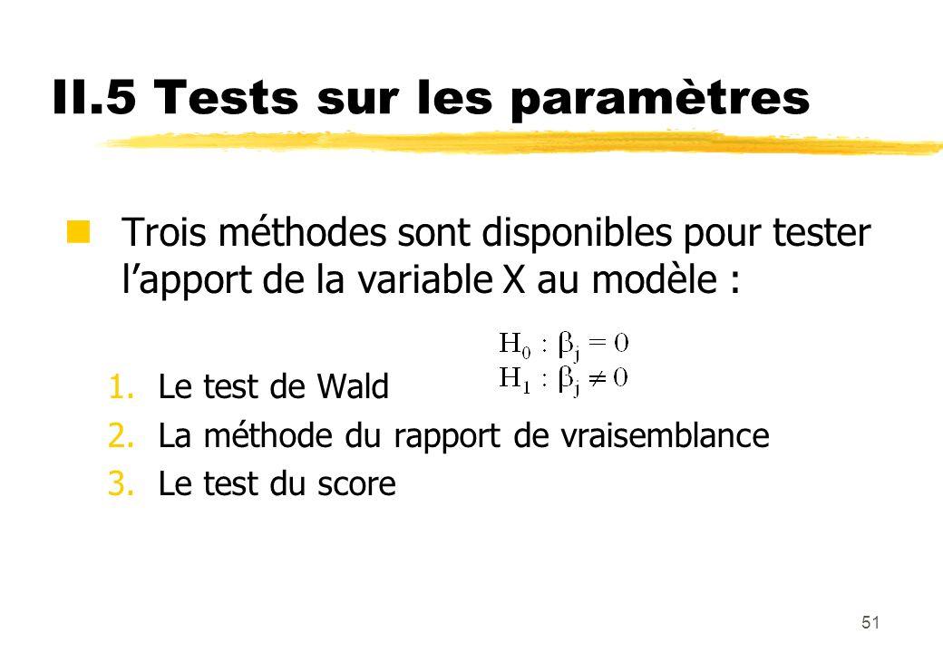 51 II.5 Tests sur les paramètres Trois méthodes sont disponibles pour tester lapport de la variable X au modèle : 1.Le test de Wald 2.La méthode du rapport de vraisemblance 3.Le test du score