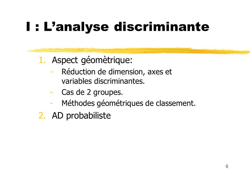 6 1.Aspect géomètrique: -Réduction de dimension, axes et variables discriminantes.