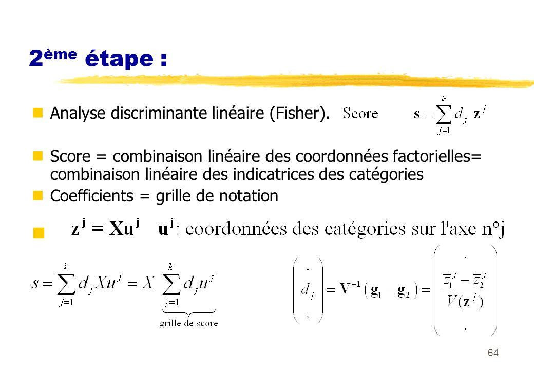 64 2 ème étape : Analyse discriminante linéaire (Fisher).