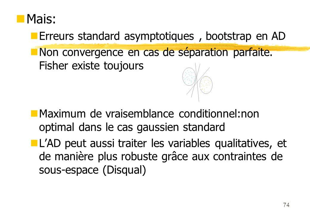 74 Mais: Erreurs standard asymptotiques, bootstrap en AD Non convergence en cas de séparation parfaite.