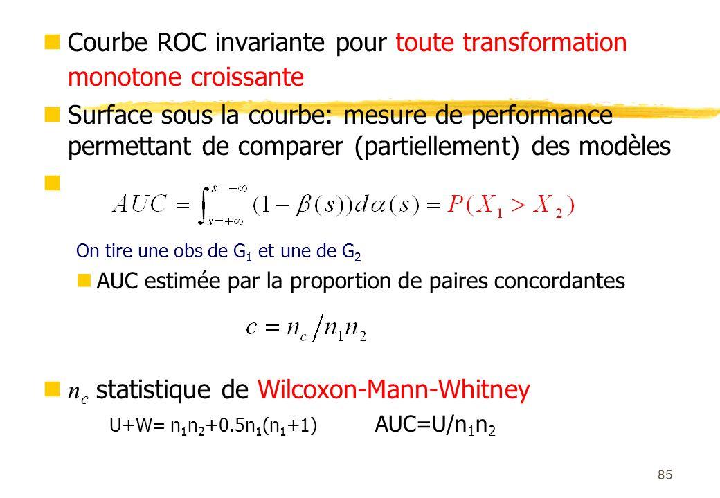 85 Courbe ROC invariante pour toute transformation monotone croissante Surface sous la courbe: mesure de performance permettant de comparer (partiellement) des modèles On tire une obs de G 1 et une de G 2 AUC estimée par la proportion de paires concordantes n c statistique de Wilcoxon-Mann-Whitney U+W= n 1 n 2 +0.5n 1 (n 1 +1) AUC=U/n 1 n 2