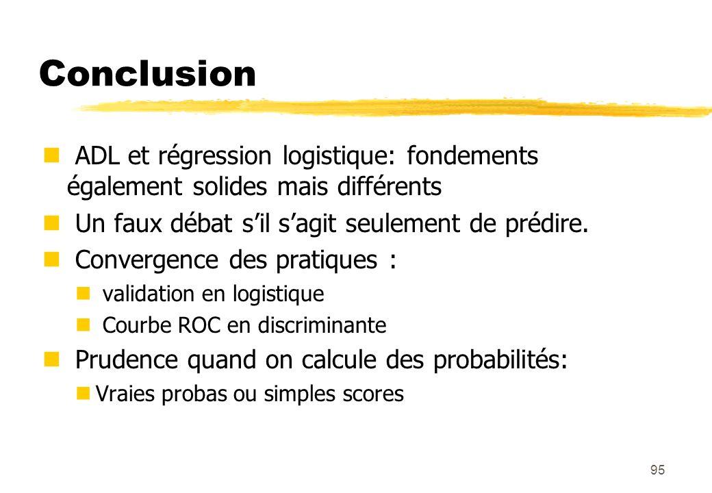 95 Conclusion ADL et régression logistique: fondements également solides mais différents Un faux débat sil sagit seulement de prédire.