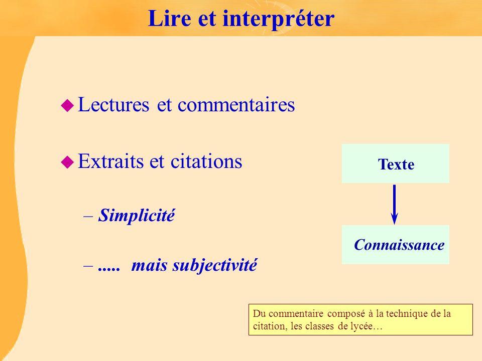 Lire et interpréter u Lectures et commentaires u Extraits et citations –Simplicité –..... mais subjectivité Texte Connaissance Du commentaire composé