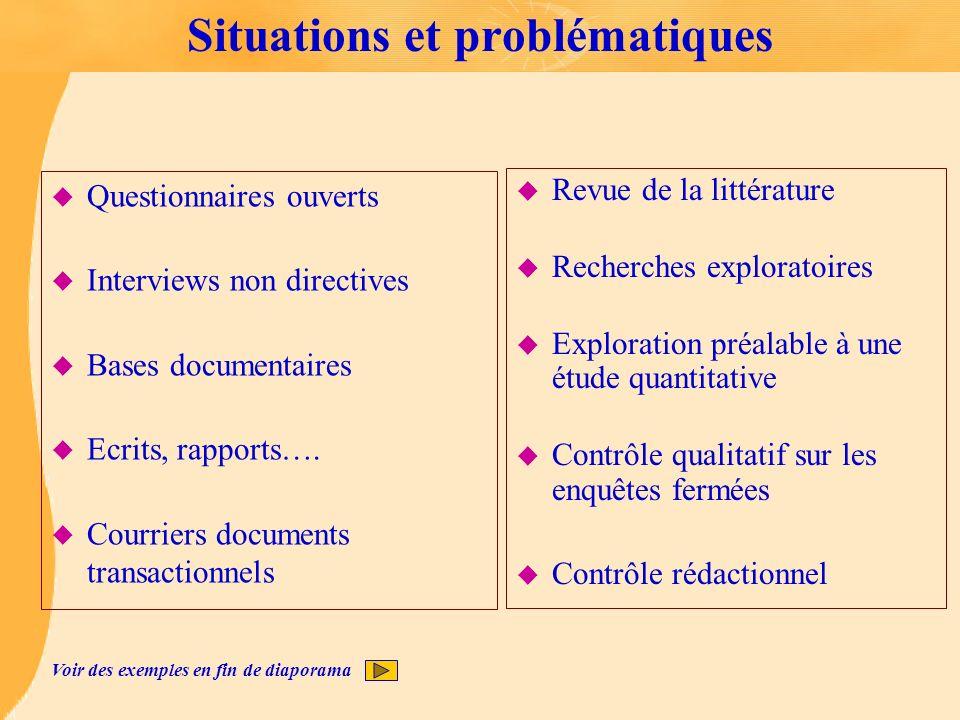 Situations et problématiques u Questionnaires ouverts u Interviews non directives u Bases documentaires u Ecrits, rapports…. u Courriers documents tra