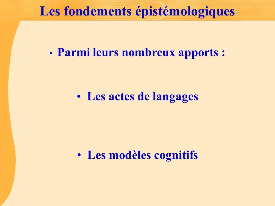 Les fondements épistémologiques Parmi leurs nombreux apports : Les actes de langages Les modèles cognitifs