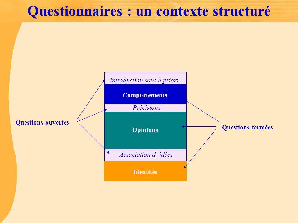 Questionnaires : un contexte structuré Questions ouvertes Introduction sans à priori Précisions Association d idées Questions fermées Identités Opinio