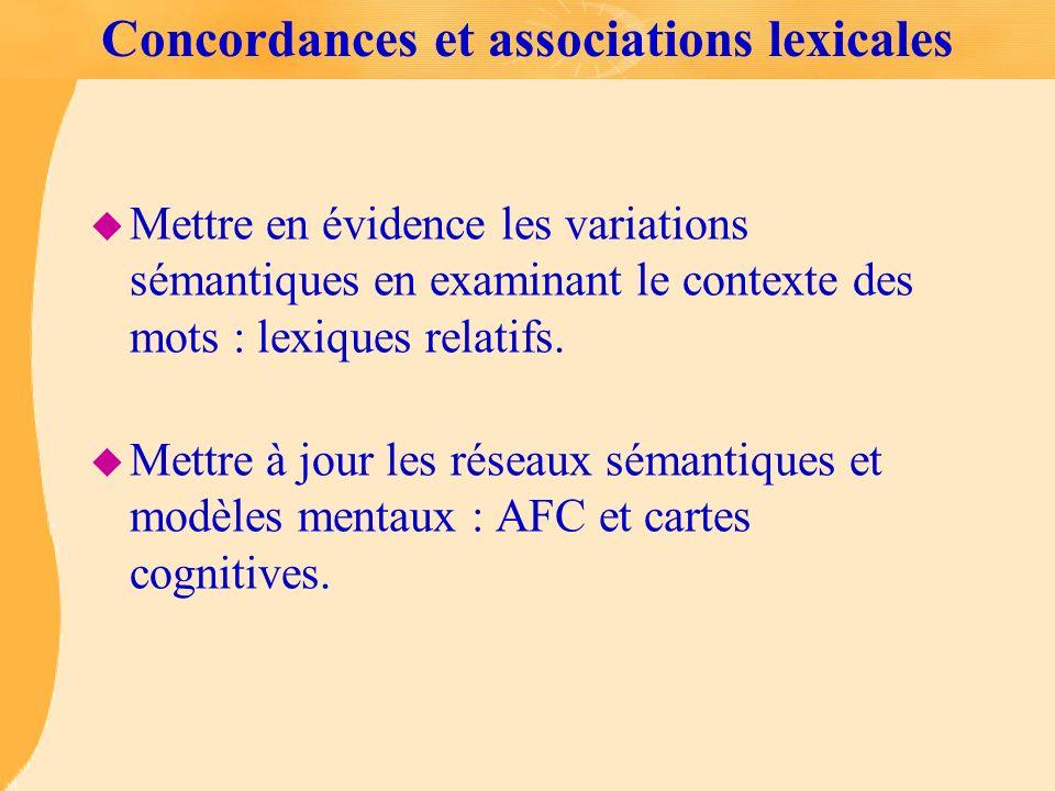 Concordances et associations lexicales u Mettre en évidence les variations sémantiques en examinant le contexte des mots : lexiques relatifs. u Mettre