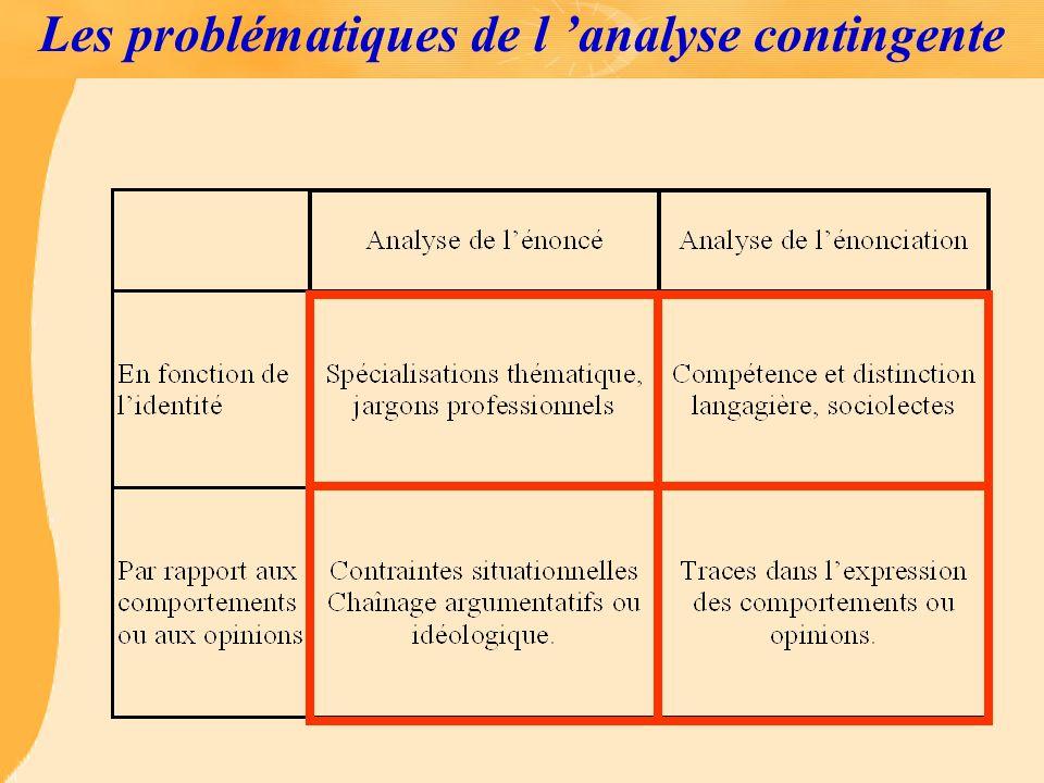 Les problématiques de l analyse contingente